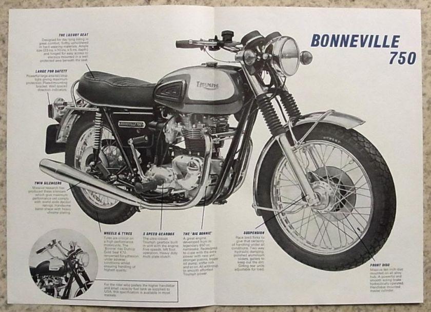 TRIUMPH BONNEVILLE 750 MOTORCYCLE Sales Brochure 1973