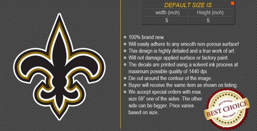 New Orleans Saints NFL Football Logo Car Bumper Window Wall Sticker