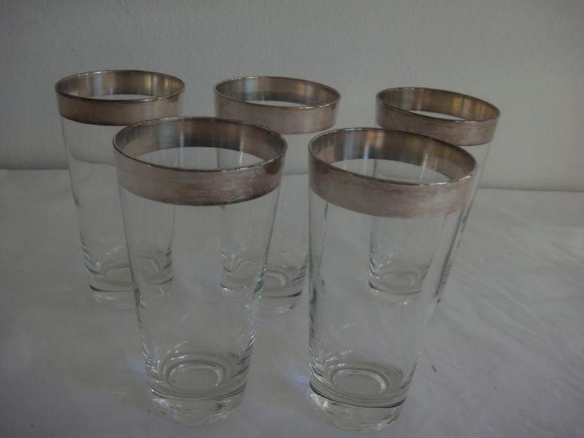 vtg Mid century dorothy thorpe silver band allegro tumbler glasses 12