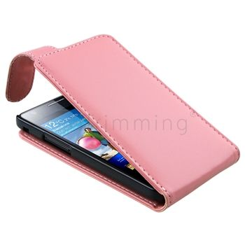 New Pink Flip Leather Pouch Case Cover For Samsung Galaxy S 2 II i9100