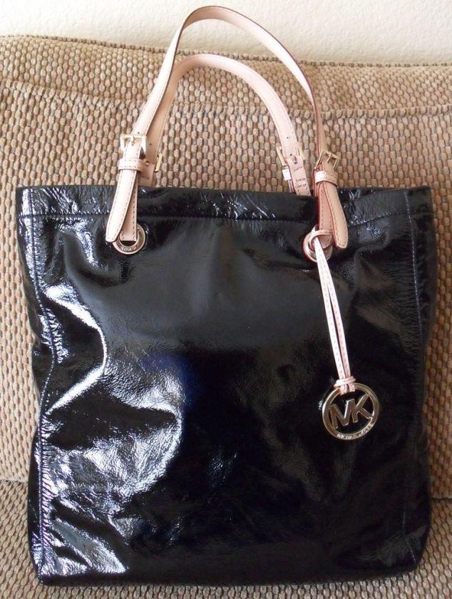 MICHAEL KORS Black Patent Leather Tote Bag Handbag $198