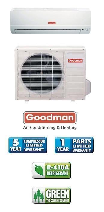 Btu 13 Seer Goodman Single Zone Mini Split Heat Pump AC System